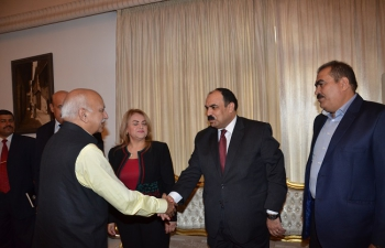 MOS Shri M J Akbar greeting MPs of Iraq-India Friendship Group of the Iraqi Parliament at the Lunch Reception at Ambassador's Residence in Baghdad
