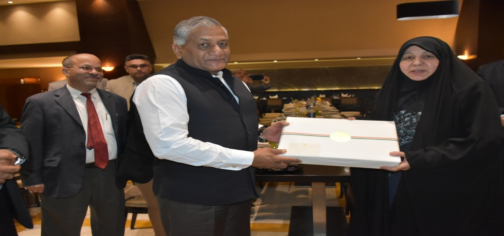 H.E.  General (Dr.) Vijay Kumar Singh, MoS for External Affairs thanking H.E. Mrs. Najiha Al Shimmari, President of the Martyrs' Foundation of Iraq on April 1, 2018 on accomplishing the task of finding the whereabouts of 39 missing Indians