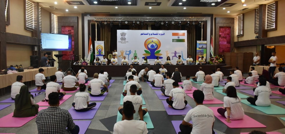 A large number of Iraqi youth participated in the 4th International Day of Yoga organized by the Embassy at the Iraqi Hunting Club , Baghdad on June 21, 2018