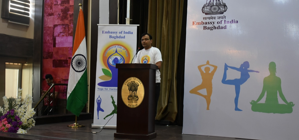 Ambassador Dr. Pradeep Rajpurohit addressing the participants of the 4th International Day of Yoga organized by the Embassy at Iraqi Hunting Club, Baghdad on June 21, 2018