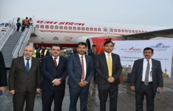 Warm Welcome of the Inaugural Flight of Air India at Najaf International Airport on Feb 14, 2019