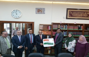 Setting up of India Corner at the Library of the Al Mustansiriya University in Baghdad on June 16, 2019.