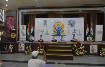 Yoga demonstration by Iraqi youth on the 5th International Day of Yoga at the Iraqi Hunting Club, Baghdad on June 22, 2019