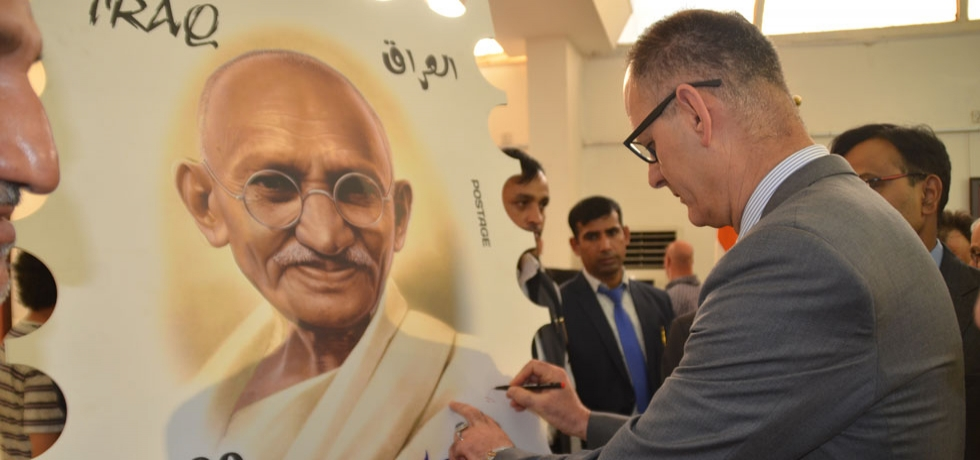 H.E. Dr. Abdul Amir Al-Hamdani, Minister of Culture Tourism & Antiquities of Iraq launched Postal Stamp on Mahatma Gandhi in Baghdad commemorating 150th birth anniversary of Gandhi.