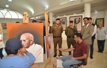 Portraits of Mahatma Gandhi being sketched by Iraqi Painters at the Iraqi Fine Artist Association in Baghdad on July 23, 2019