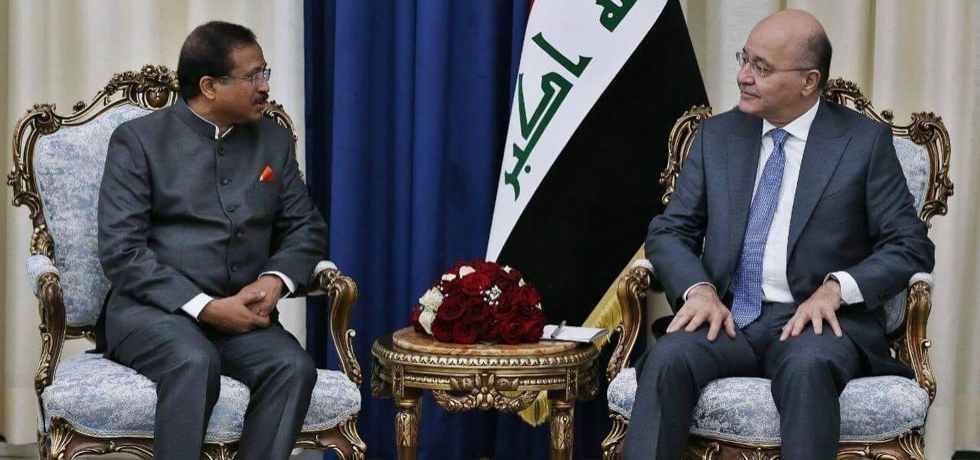 Honble MoS Shri V. Muraleedharan called on Dr. Barham Salih, President of Iraq in Baghdad on September 16, 2019