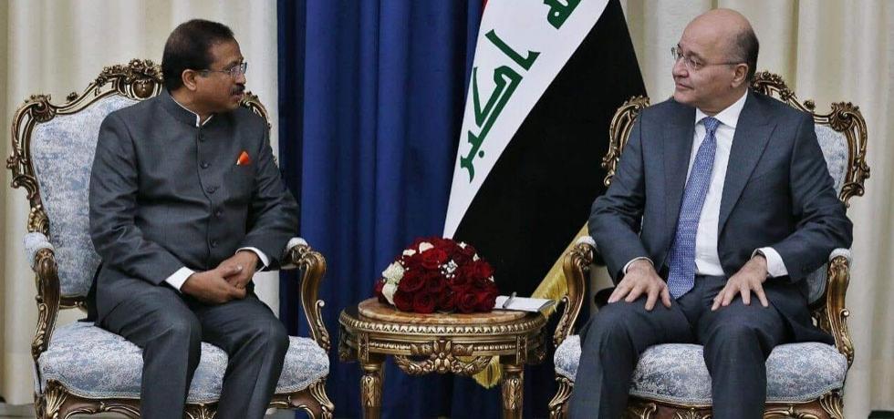 Honble MoS Shri V. Muraleedharan called on Dr. Barham Salih, President of Iraq in Baghdad on September 16, 2019