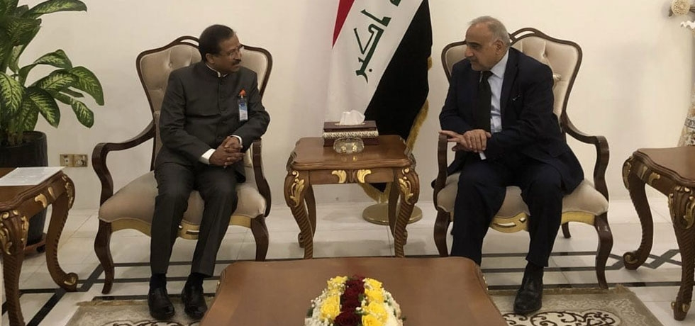 Honble MoS Shri V. Muraleedharan called on Dr. Adel Abdul Mahdi, PM of Iraq in Baghdad on September 16, 2019.