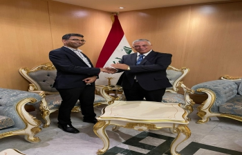 Mr. Haider Al-Shemerti, Assistant Director General, Asia and Australia Division, Ministry of Foreign Affairs of Republic of Iraq welcomed Shri Prashant Pise, Ambassador-designate to Iraq on arrival at Baghdad on 02nd August 2021