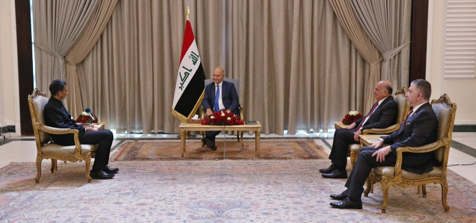 Ambassador Prashant Pise presented his credentials to H.E. Dr. Barham Salih, President of the Republic of Iraq at Al Salam Palace, Baghdad on 06 Sept, 2021